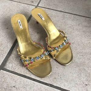 Miu Miu flower kitten heels